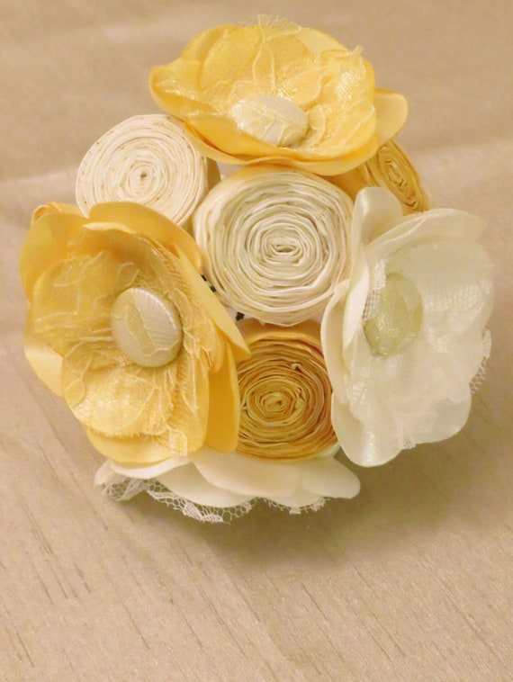 Ivory and Yellow Fabric Flower Bridesmaids Bouquet - Milk and Honey Collection - Fabric Bouquets - Summer Wedding Flowers