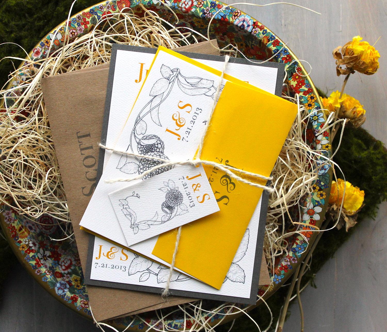 Bohemian Wedding Invitations: Boho Wedding Invitations Yellow Wedding Invitations Bohemian