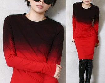 RTBU Cotton Gothic Punk Dip Tie Dye Gradient Ombre Top T Shirt Dress Blood Red