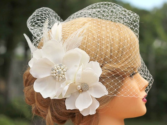 Ivory Birdcage Veil- Large Flower Fascinator-Wedding Headpiece-White Also Available