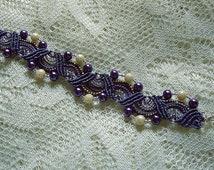 Beaded micro macrame bracelet in purple pearls. Macrame jewelry