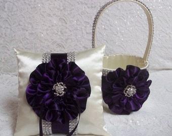 Deep Plum Purple Flower Girl Basket and Ring Bearer Pillow Set, Bling Flower Girl Basket and Ring Bearer Pillow in Dark Plum Purple & Ivory