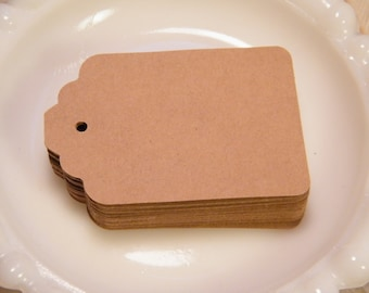 Gift Tags / Medium Size Kraft Cardstock Price tags / Hang Tags / 50 Blank / DIY Wedding Tags / Eco-Friendly / Holiday Packaging