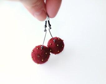 Maroon and Amber Felt Earrings - Needle Felted Ball Earrings with Amber Beads