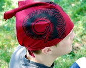 Ram Horns Bandana - Maroon Cotton - Black Ink - Screen Printed