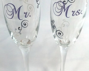 Mr. and Mrs. Toasting flutes,Wedding or anniversary toasting champagne flutes, set of 2, purple black and white.