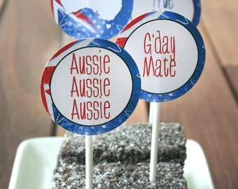 Australia Day Party Circles/Favor Tags - INSTANT DOWNLOAD - Printable Aussie, BBQ, Food, Cupcake Topper, Decorations by Sassaby Parties