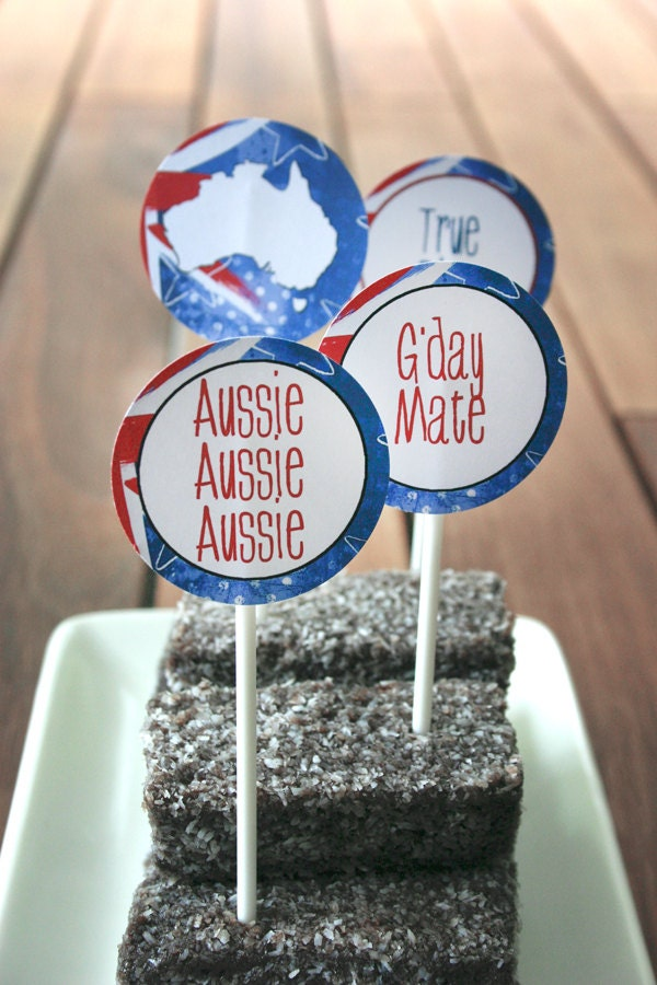 Australia day party circles favor tags instant download for Australia day decoration ideas