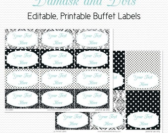 Buffet Labels and Place Cards, Black and White, Damask and Dots, Robin's Egg Blue, Bridal Shower Decoration - Editable, Printable