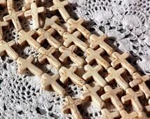1 strand, 13 Medium Sized Beads Small Stone Cross Beads in OFF WHITE . Sideways Cross 30mm x 20mm how0328