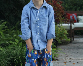 50% OFF Boys Classically Cool Cargo Shorts sewing pattern for boys- sizes 3 months - 8 years, pant tutorial, pdf pattern