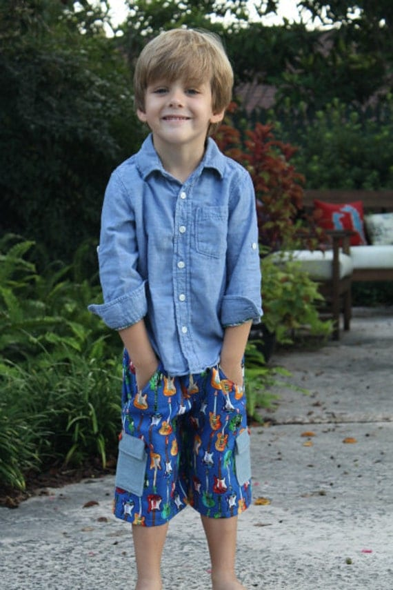 Boys Classically Cool Cargo Shorts sewing pattern for boys- sizes 3 months - 8 years, pant tutorial, pdf pattern