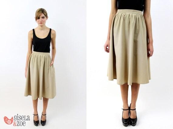 vintage 1980s high waist khaki skirt khaki skirt