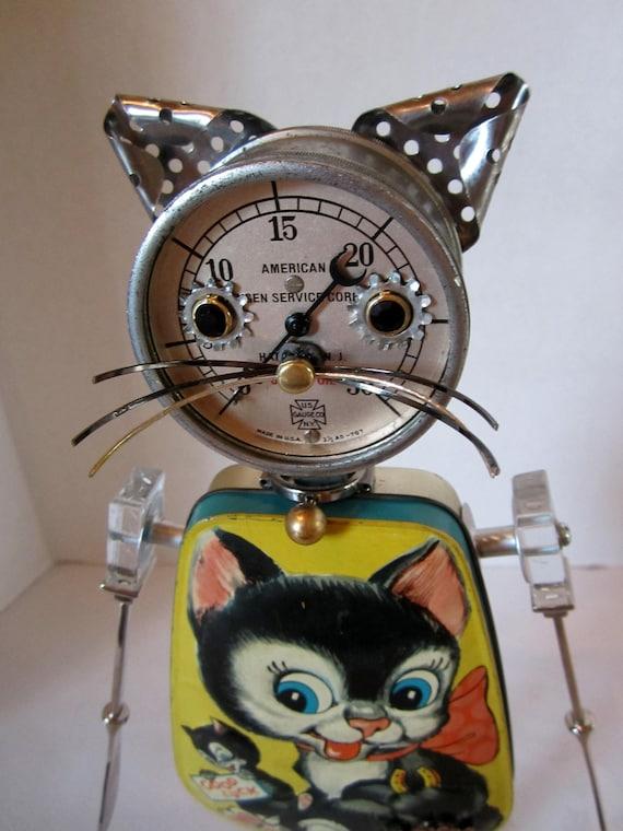 Bitti Kitty Bot - found object robot sculpture assemblage