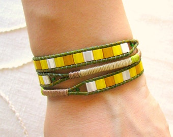 Macrame Beaded Wrap Bracelet With Distressed Green Leather and Button Clasp