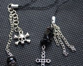 Skull and Cross Gothic Punk Charms, Black Gemstone Charm, Silver Charm, Friendship Gift, Semi Precious Onyx and Chain Charm