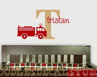 Fire Truck Wall Decal for Boys Nursery Wall, Customize Colors, Fireman Wall Stickers, Boys Fireman Theme, Initial Decal, Large Name Decal