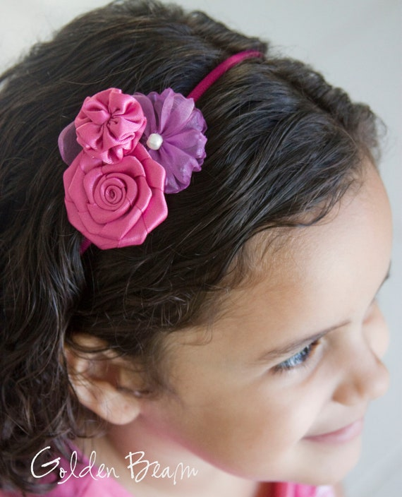 Flower Girl Headband - Three Hot Pink Flowers Bouquet Handmade Headband - Baby to Adult Headband - Fuchsia Headband