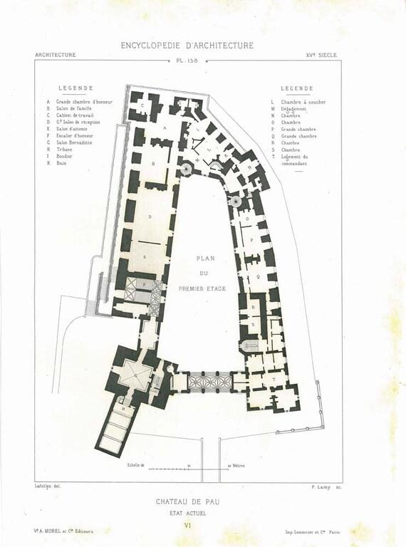 1873 Architectural Print,  Medieval Castle Floor Plan,  Vintage Print Chateau de Pau France,  Steel Engraving