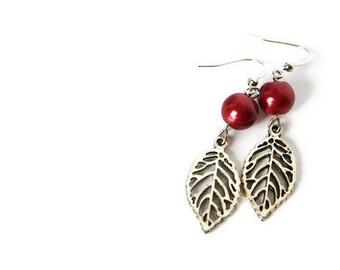 Dark Red Earrings - Red Glass Pearl Earrings - Leaf Earrings - Nickel Free Earrings - Burgundy Red Jewelry - Beaded Earrings - Leaf Jewelry
