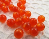 60 Vintage 9mm Fire Orange Round Moonglow Lucite Beads Bd451