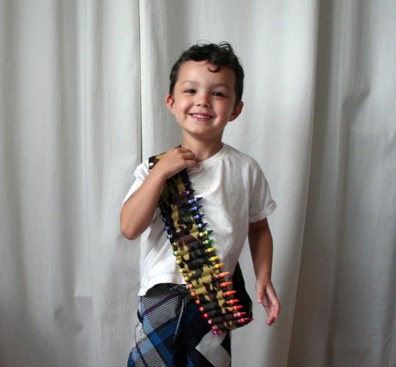 Kids Crayon Bandolier - Green Camo