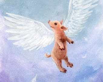 Flying Pig Print, Baby Pig Decor, Large Wall Art, Cute Piglet, Nursery Decor, Farm Animal Illustration, ACEO Art Card