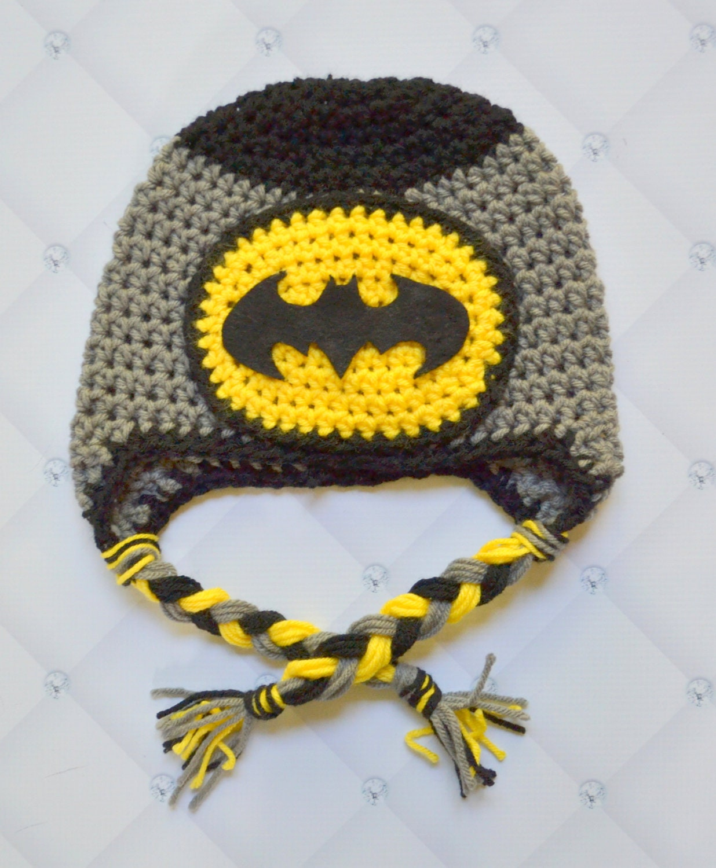 Free Crochet Pattern For Infant Batman Hat : newborn batman hat