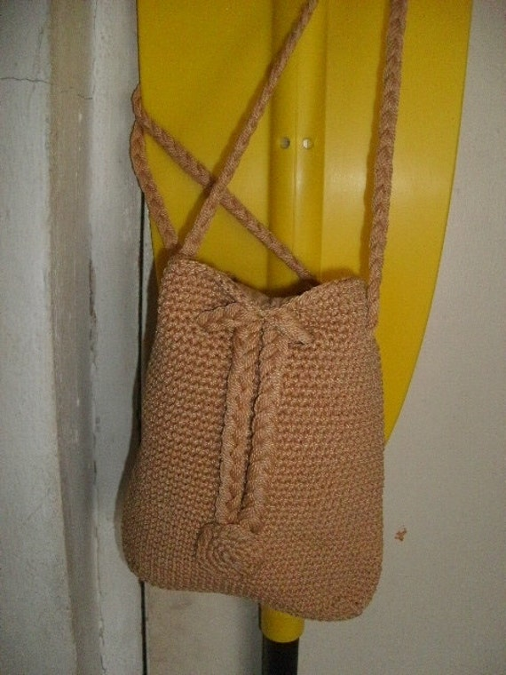 Boho CROCHET/BRAID/Cotton/ Purse/BAG/ Pouch, Long Shoulder Straps/Vintage