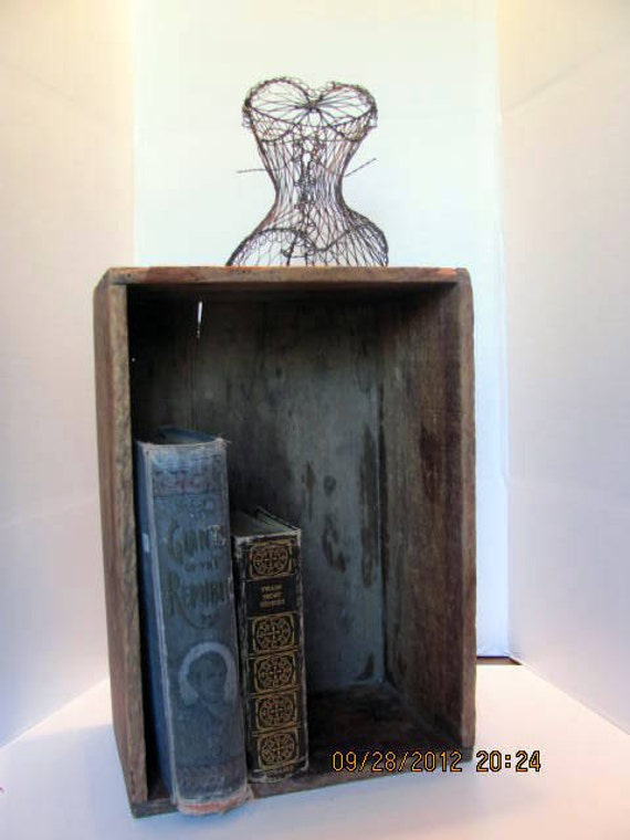 Antique wood box used for shipping crate for by for Uses for wooden boxes