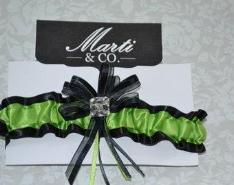 Wedding Garter Lime Green and Black - Wedding Bridal Garter -Prom Lime Green Garter - Bridal Garter- Prom Garter - MARTI & CO