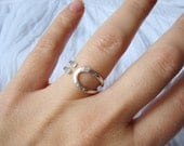 Adjustable Silver Ring - Hoop Wire Ring with Hammered Textture