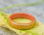 Canarywood Ring with Pink Ivory Liner - Bentwood Ring - And We Plant A Tree :)
