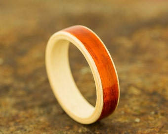 American Holly Bentwood Ring with Wide Padauk Inlay - Wooden Ring - And We Plant A Tree:)