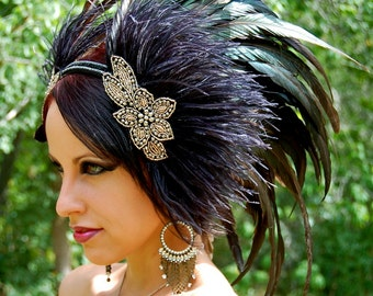DARK PRIESTESS Feather Headdress