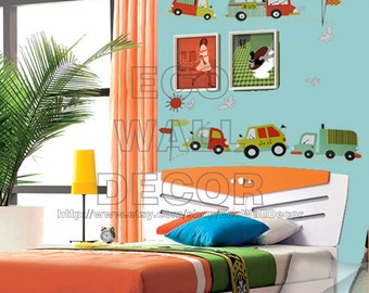 PEEL and STICK Kids Nursery Removable Vinyl Wall Sticker Mural Decal Art - Colorful Kids Cars in Traffic Decal