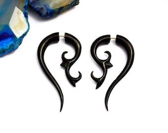 Black Horn Earrings Fake Gauges  Spiral Organic Natural Tribal Earrings - FG054 H G1