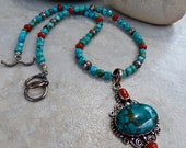 Turquoise Coral Silver Pendant Necklace - Elegant One of a Kind Necklace
