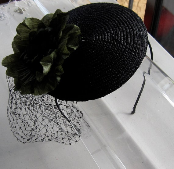 Black Flower Fascinator Hat: Olive Green Flower Black Straw Fascinator Hat With Veil And
