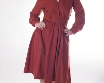 Sierra Me Saucy 1960s / 1970s Vintage Burnt Orange Bell Sleeved V Neck Full Skirt Calf Length Velvet Like Party Dress Sz  12 / Medium