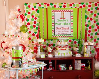 CHRISTMAS Party - Elf Party - Santa Party - PRINTABLE Party Package - Elf Feet - Chevron Christmas