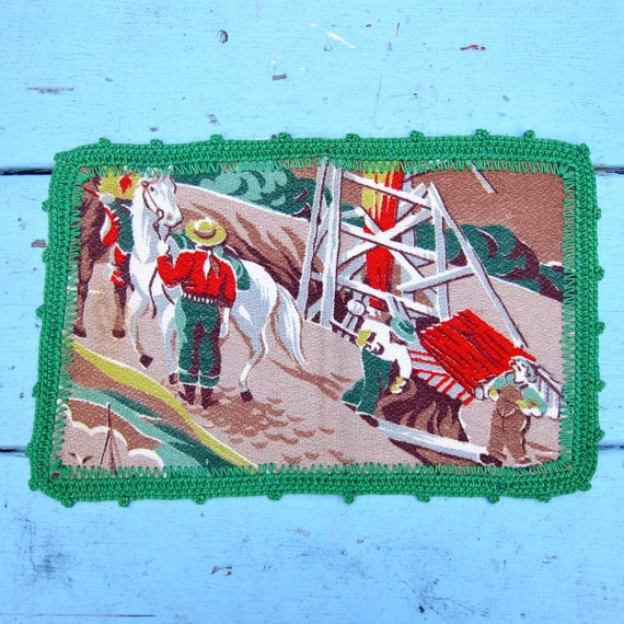Vintage Barkcloth Placemats 1950s Western Kitsch Green