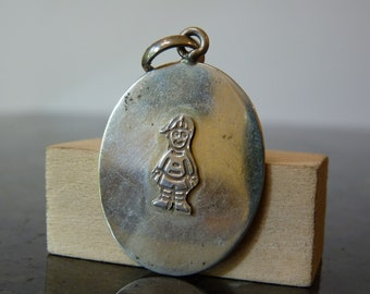 SALE Vintage Silver Pendant with Little Boy