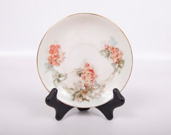 Vintage Hutschenreuther Selb Saucer Bavaria Germany 1960s Hand Painted Gilded Porcelain Orange Floral