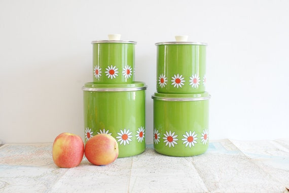 Mod Green Enamel Kitchen Containers with Red and White Flowers - Set of Four