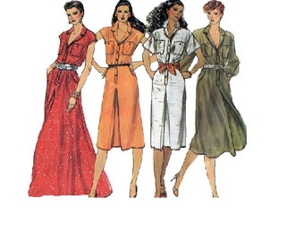 Vogue Basic Design 80s Sewing Pattern High Fashion Dress Loose Fit Shirt Dress Maxi Midi Length Bust 32