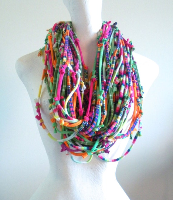 Tribal Gypsy Rainbow Chunky Cowl Scarf Eco-Friendly Fall Fashion Multicolor Knotty Bits Infinity Scarf Winter Scarf