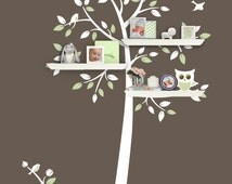 Shelf Tree Decal - Tree Decal With Owl - Children Wall Decal - Nursery Decor - Tree Bookshelf - Tree Silhouette