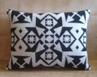 Wool Pillow - Made with Pendleton® Fabric - Native Black White Geometric Tribal