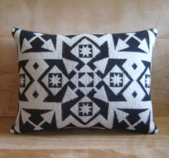 Wool Pillow - Native Black White Geometric Tribal
